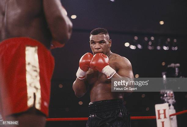 Mike Tyson boxes Frank Bruno at the Hilton Hotel-Casino on February 25, 1989 in Las Vegas, Nevada. Tyson defeated Bruno with a TKO in Round 5.