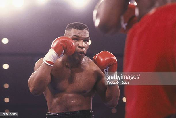 Mike Tyson boxes Frank Bruno at the MGM Grand on March 16, 1996 in Las Vegas, Nevada. Tyson defeated Bruno in round 3 with a TKO.