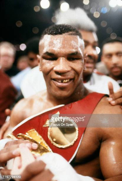 Mike Tyson celebrates after he defeated Frank Bruno for WBC, WBA and IBF Heavyweight titles on February 25, 1989 at the Las Vegas Hilton in Las...