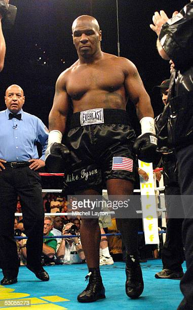 Mike Tyson enters the ring before the start of his heavyweight fight against Kevin McBride at the MCI Center June 11 2005 in Washington DC