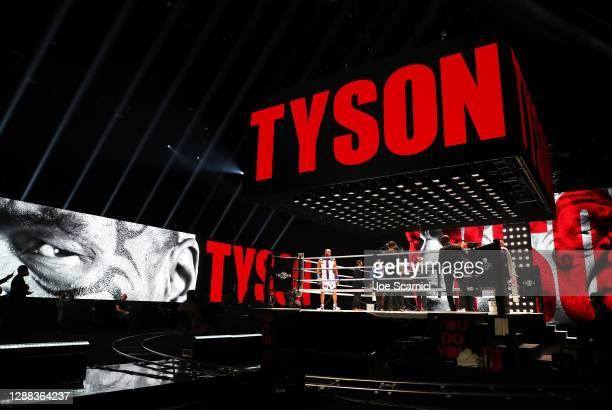Mike Tyson enters the ring during Mike Tyson vs Roy Jones Jr. Presented by Triller at Staples Center on November 28, 2020 in Los Angeles, California.