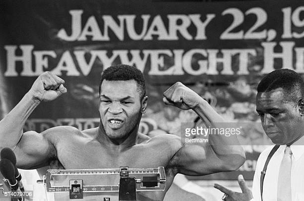 Mike Tyson Flexing at Weighin