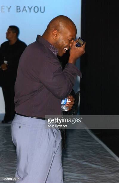 Mike Tyson front row at Bradley Bayou Spring 2006 during MercedesBenz Spring 2006 LA Fashion Week at Smashbox Studios Bradley Bayou Front Row at...