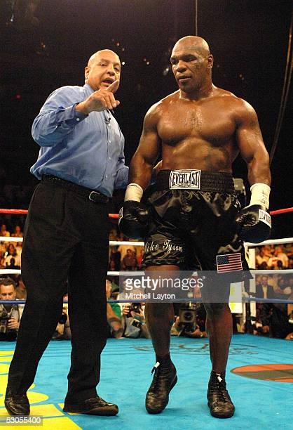 Mike Tyson is ordered to his corner by referee Joe Cortez during his heavyweight bout against Kevin McBride at the MCI Center June 11 2005 in...