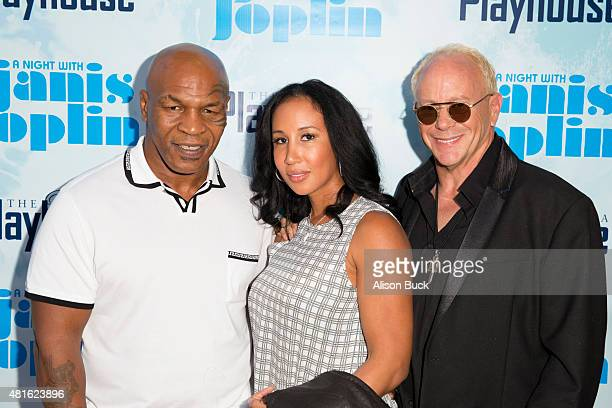 Mike Tyson Lakiha Spicer and Randy Johnson attend A Night With Janis Joplin Los Angeles Opening Night Performance at Pasadena Playhouse on July 22...