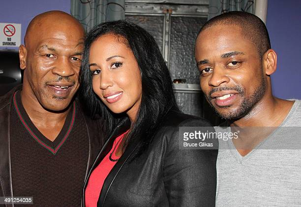 Mike Tyson Lakiha Spicer Tyson and Dule Hill pose backstage at the hit musical After Midnight on Broadway at The Brooks atkinson Theater on May 15...