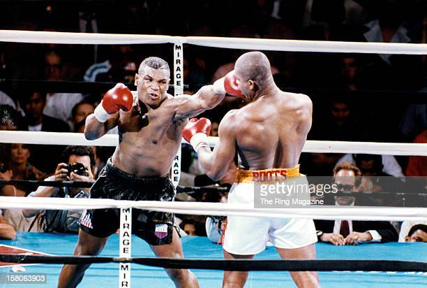 Mike Tyson land a left punch against Donovan Ruddock during fight at the Mirage Hotel Casino on June 281991 in Las Vegas Nevada Mike Tyson won by a...
