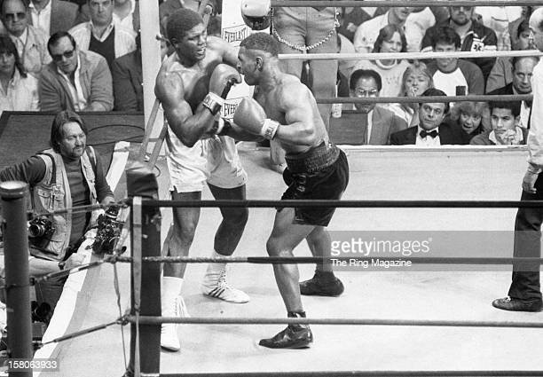 Mike Tyson lands a punch against James Tillis during the fight at the Civic Centeron May 31986 in Glens Falls New York Mike Tyson won by a UD 10