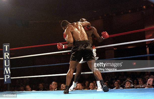 Mike Tyson lands a punch against Jose Ribalta during a bout at Trump Plaza Hotel on August 17 1986 in Atlantic City New JerseyMike Tyson defeated...