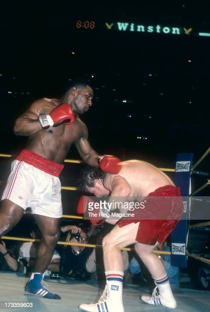Mike Tyson lands a punch against Steve Zouski during the fight at Nassau Coliseum in Uniondale New York Mike Tyson won by a KO 3