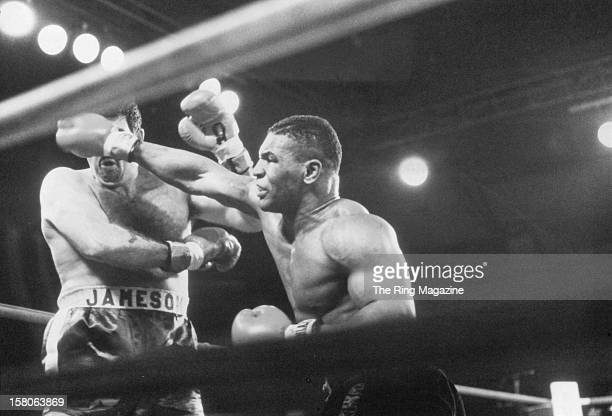 Mike Tyson lands a right hook against Mike Jameson during the fight at the Trump Plaza Hotel on January 241986 in Atlantic City New Jersey Mike Tyson...