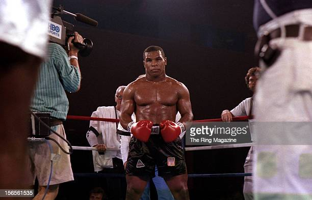 Mike Tyson looks to start the fight with Jose Ribalta at Trump Plaza Hotel on August 17, 1986 in Atlantic City, New Jersey.Mike Tyson defeated Jose...