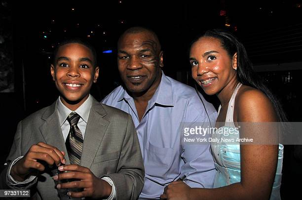 Mike Tyson pictured with his son Amir and daughter Rayna at the Special Screening After party held at Strata for the movie 'Tyson'