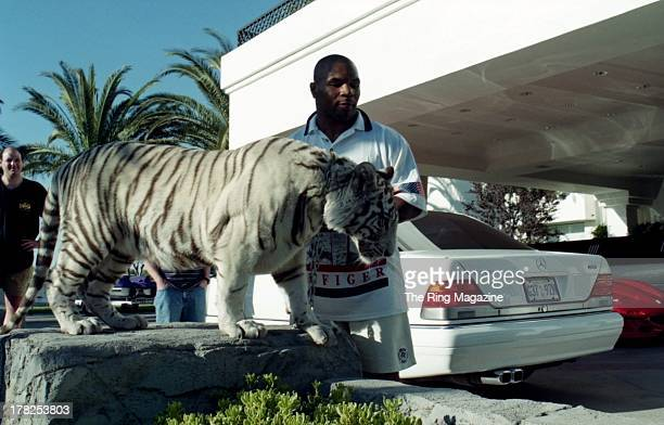 Mike Tyson poses with his white tiger during an interview at his home
