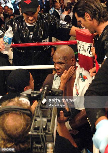 Mike Tyson sits in his corner after being stopped by Kevin McBride during their heavyweight bout at the MCI Center June 11 2005 in Washington DC...
