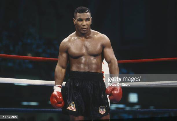 Mike Tyson stands in the ring during the fight with Carl Williams at the Convention Center on July 21, 1989 in Atlantic City, New Jersey. Tyson...