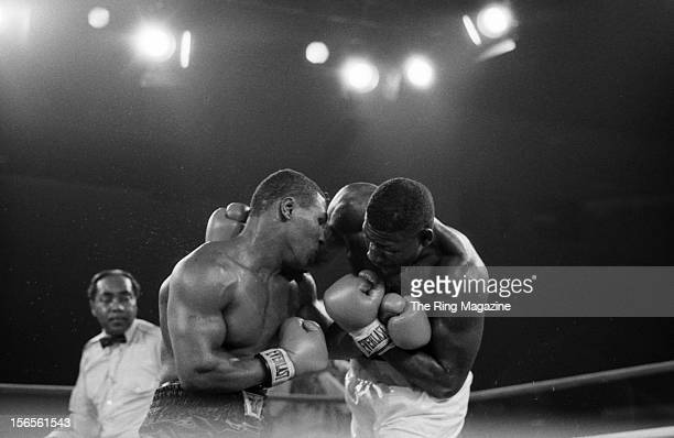 Mike Tyson tangles with Jose Ribalta during a bout at Trump Plaza Hotel on August 17 1986 in Atlantic City New JerseyMike Tyson defeated Jose Ribalta...