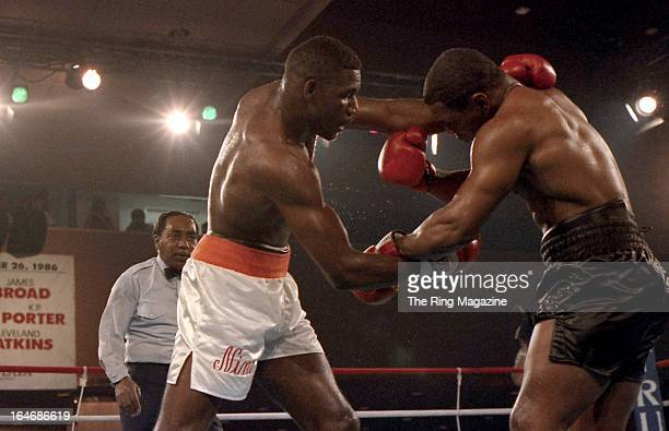 Mike Tyson throws a punch against Jose Ribalta during a bout at Trump Plaza Hotel on August 17 1986 in Atlantic City New JerseyMike Tyson defeated...