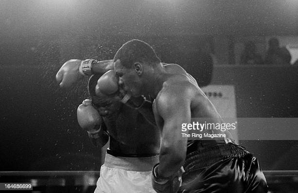 Mike Tyson throws a punch against Jose Ribalta during a bout at Trump Plaza Hotel on August 17 1986 in Atlantic City New Jersey Mike Tyson defeated...