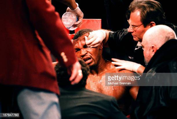 Mike Tyson v Evander Holyfield 1 in Las Vegas Nevada 9th November 1996 After an accidental head butt from Evander Holyfield Tyson's corner furiously...