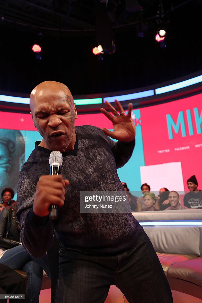 Mike Tyson visits BET's '106 & Park' at 106 & Park Studio on January 29, 2013, in New York City.