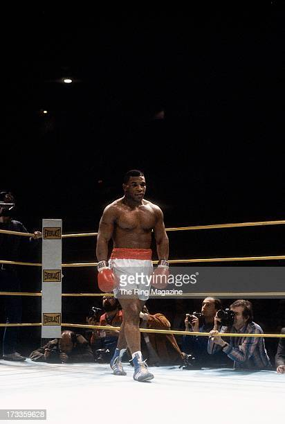 Mike Tyson walks in the ring during the fight against Steve Zouski at Nassau Coliseum in Uniondale New York Mike Tyson won by a KO 3