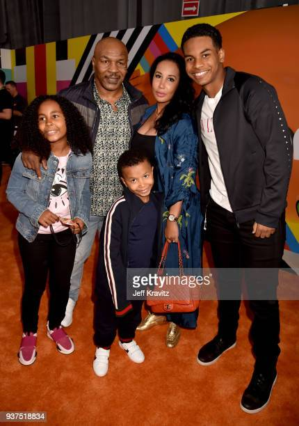 Mike Tyson with Lakiha Tyson and Milan Tyson Miguel Tyson and Morocco Tyson attend Nickelodeon's 2018 Kids' Choice Awards at The Forum on March 24...