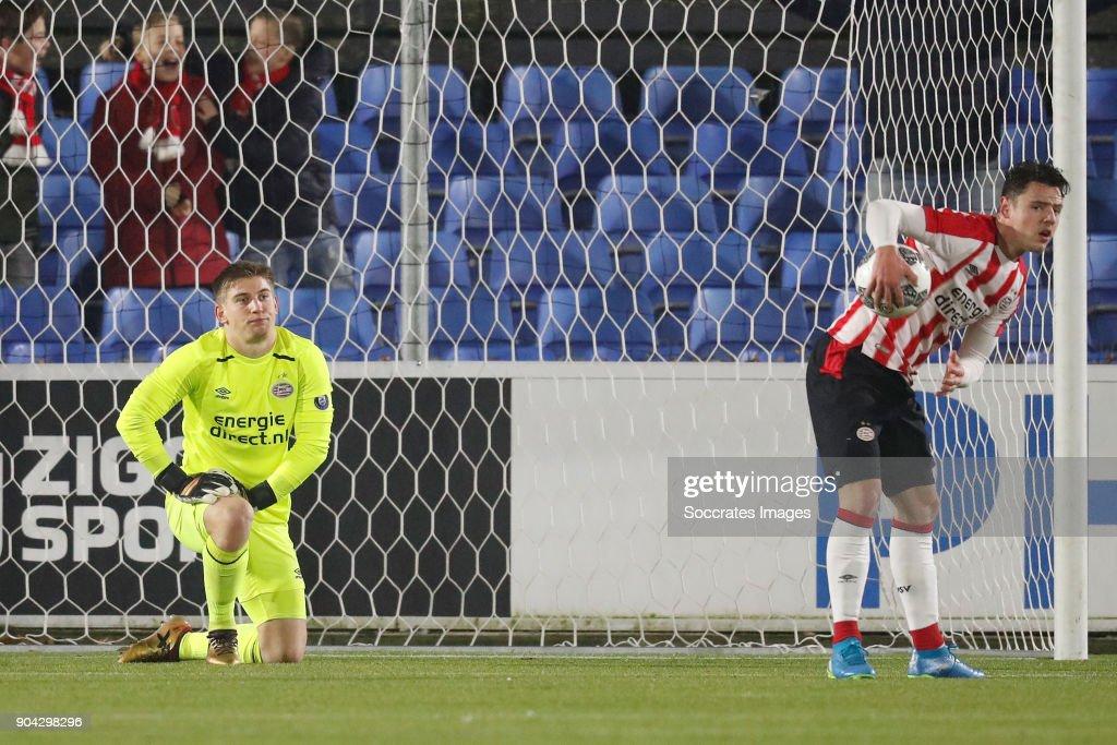 Mike van de Meulenhof of PSV U23, Dirk Abels of PSV U23 Disappointed during the Dutch Jupiler League match between PSV U23 v Helmond Sport at the De Herdgang on January 12, 2018 in Eindhoven Netherlands