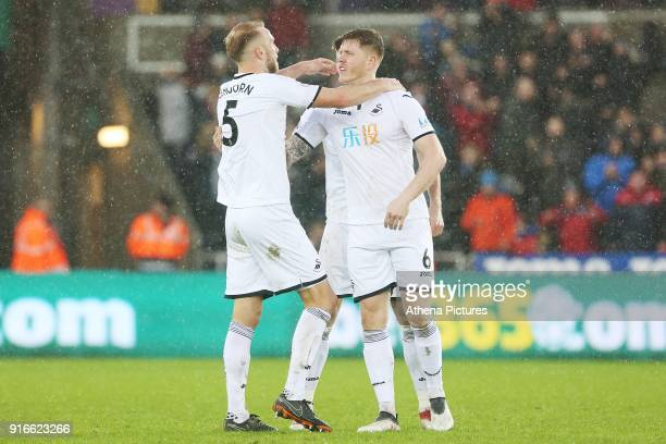Mike van der Hoorn and Alfie Mawson of Swansea City after the final whistle of the Premier League match between Swansea City and Burnley at the...