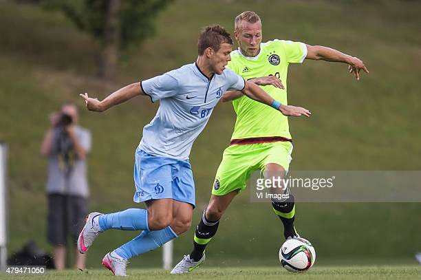 Mike van der Hoorn of Ajax Alexandr Kokorin of Dinamo Moscow during the friendly match between Ajax Amsterdam and Dynamo Moscow on July 4 2015 at...