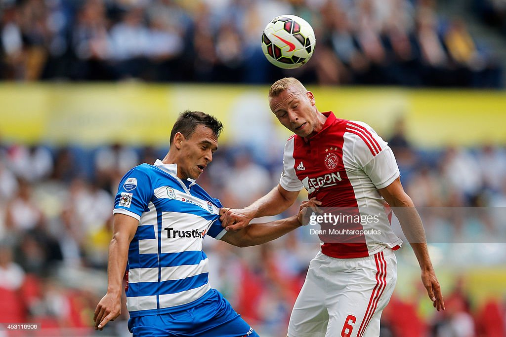 Mike van der Hoorn of Ajax and Trent Sainsbury of Zwolle battle for the header during the 19th Johan Cruijff Shield match between Ajax Amsterdam and PEC Zwolle at the Amsterdam ArenA on August 3, 2014 in Amsterdam, Netherlands.