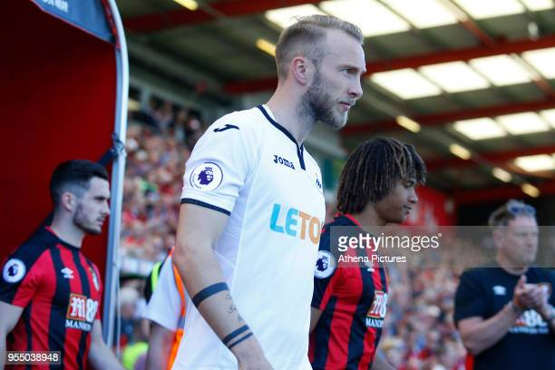 Mike van der Hoorn of Swansea City prior to kick off of the Premier League match between AFC Bournemouth and Swansea City at Vitality Stadium on May...