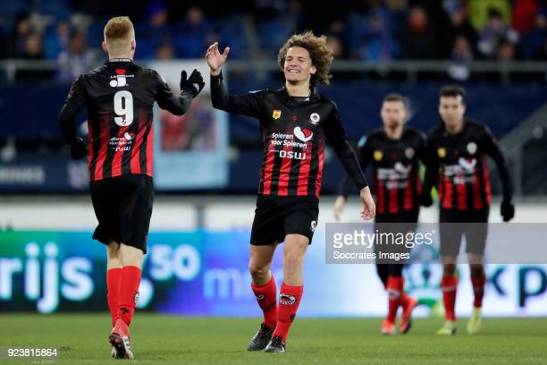 Mike van Duinen of Excelsior celebrates 01 with Wout Faes of Excelsior during the Dutch Eredivisie match between SC Heerenveen v Excelsior at the Abe...
