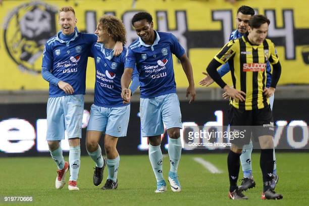 Mike van Duinen of Excelsior celebrates 12 with Wout Faes of Excelsior Levi Garcia of Excelsior during the Dutch Eredivisie match between Vitesse v...