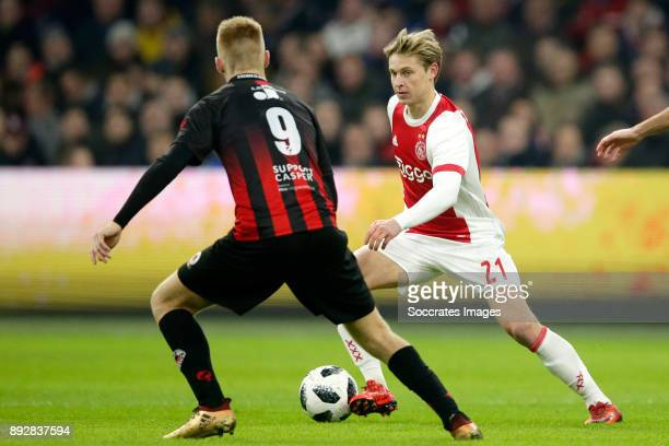 Mike van Duinen of Excelsior Frenkie de Jong of Ajax during the Dutch Eredivisie match between Ajax v Excelsior at the Johan Cruijff Arena on...
