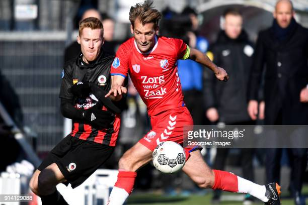 Mike van Duinen of Excelsior Robin van der Meer of FC Utrecht during the Dutch Eredivisie match between Excelsior v FC Utrecht at the Van Donge De...
