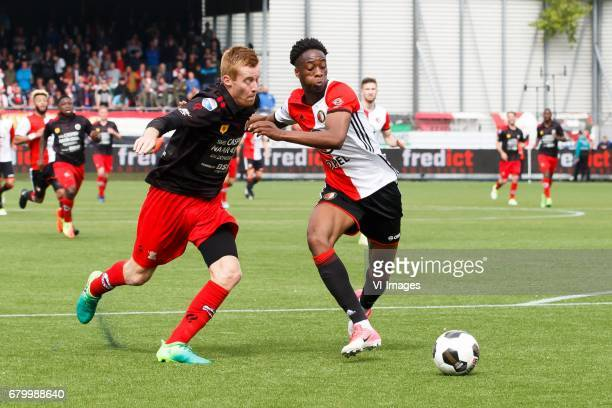 Mike van Duinen of Excelsior Terence Kongolo of Feyenoordduring the Dutch Eredivisie match between sbv Excelsior Rotterdam and Feyenoord Rotterdam at...