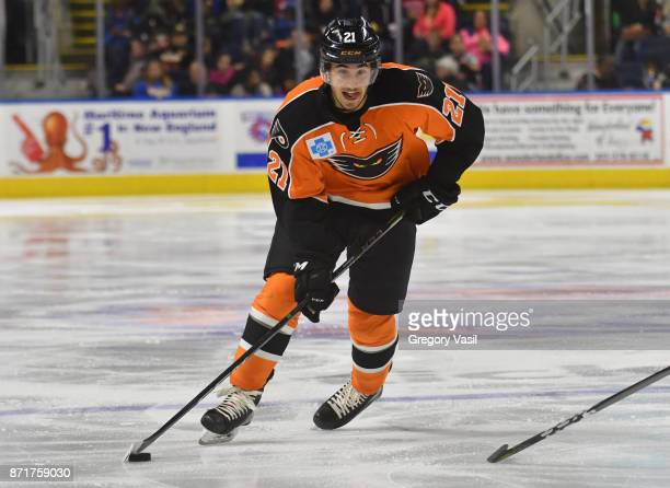 Mike Vecchione of the Lehigh Valley Phamtons brings the puck up ice at the Webster Bank Arena on November 8 2017 in Bridgeport Connecticut