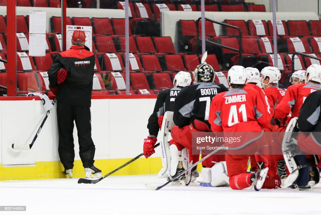 Mike Vellucci, the new head coach of the Charlotte Checkers, instructs players during the Carolina Hurricanes Development Camp on June 29, 2017 at the PNC Arena in Raleigh, NC.