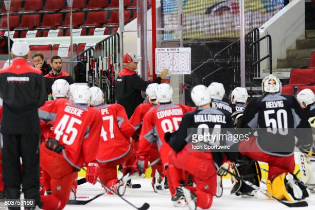 Mike Vellucci the new head coach of the Charlotte Checkers instructs players during the Carolina Hurricanes Development Camp on June 29 2017 at the...