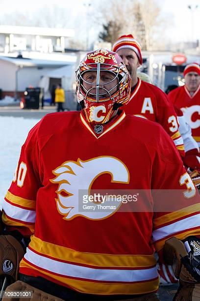 Mike Vernon of the Calgary Flames skates on to the ice before the 2011 Heritage Classic Alumni Game against the Montreal Canadiens on February 19...
