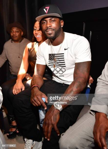 Mike Vick and Kijafa Frink attend Mike Vick Retirement Party at Grooves on February 4 2017 in Houston Texas