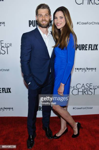 Mike Vogel and wife Courtney attend the Chicago premiere of The Case For Christ at AMC River East Theater on April 6 2017 in Chicago Illinois