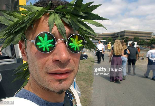 Mike Volp sells artificial marijuana leaf leis and marijuana glasses at Hempfest August 16 2003 in Seattle Hempfest is the largest rally and festival...