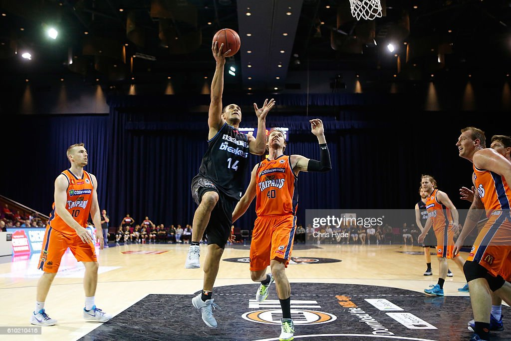Mike Vukona of the Breakers shoots during the Australian Basketball Challenge match between New Zealand Breakers and Cairns Taipans at Brisbane Convention and Exhibition Centre on September 25, 2016 in Brisbane, Australia.