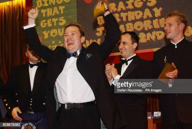 Mike Vyse from Swansea celebrating after being judged to be Britain's Bingo Caller of the Year at the Gala Bingo Club in south east London