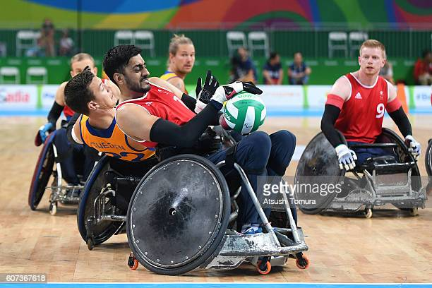 Mike Walker of Great Britain in action in the wheelchair rugby 5th6th classification on day 10 of the Rio 2016 Paralympic Games at on September 17...