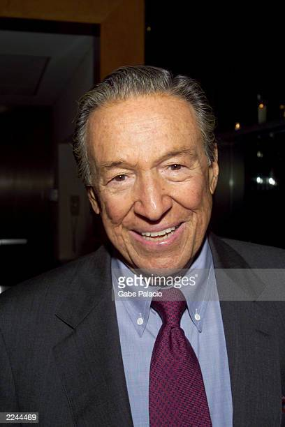 Mike Wallace of 60 Minutes at the opening night party following the performance of Barbara Cook in Mostly Sondheim at Lincoln Center in New York City...