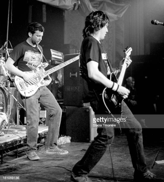 Mike Watt and Ed Crawford of alternative US rock band fIREHOSE perform on stage at Cabaret Metro in Chicago Illinois USA on 22nd March 1987