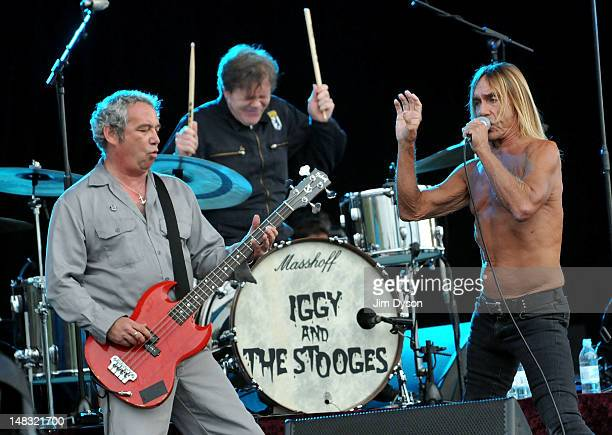 Mike Watt Toby Dammit and Iggy Pop of The Stooges perform live on stage during the first day of Hard Rock Calling at Hyde Park on July 13 2012 in...